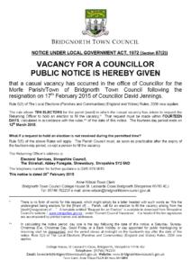 Notice of Vacancy 2015