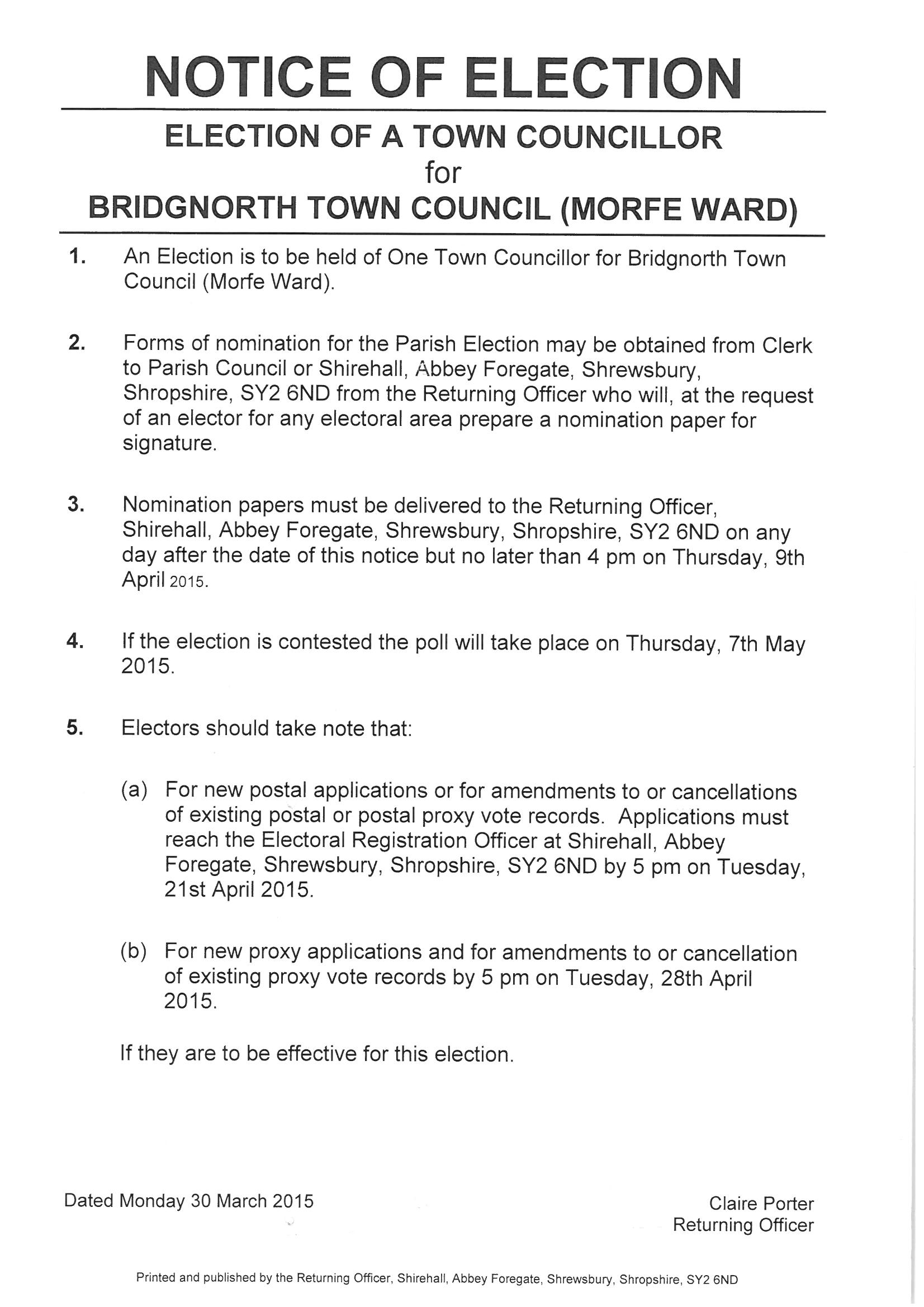 Notice of Election - Morfe Ward 2015