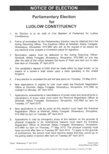 Parliamentary Election for Ludlow Constituency