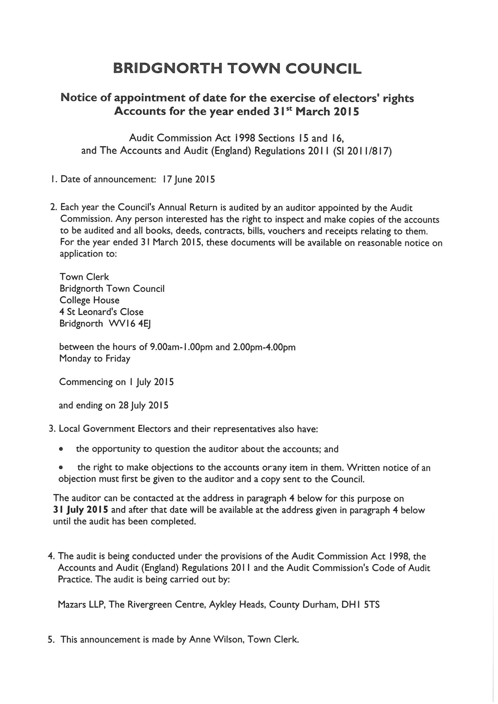 Audit Notice-Elector's Rights 2015