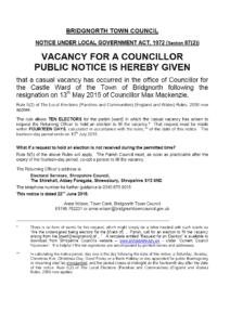 Vacancy for a Councillor - Castle Ward 2015