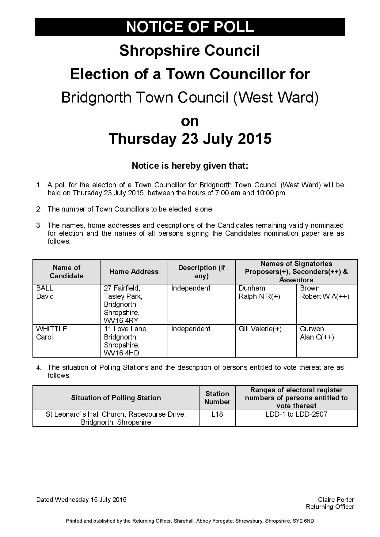 Notice of Poll - Bridgnorth Town Council (West Ward) - July 2015-page-001