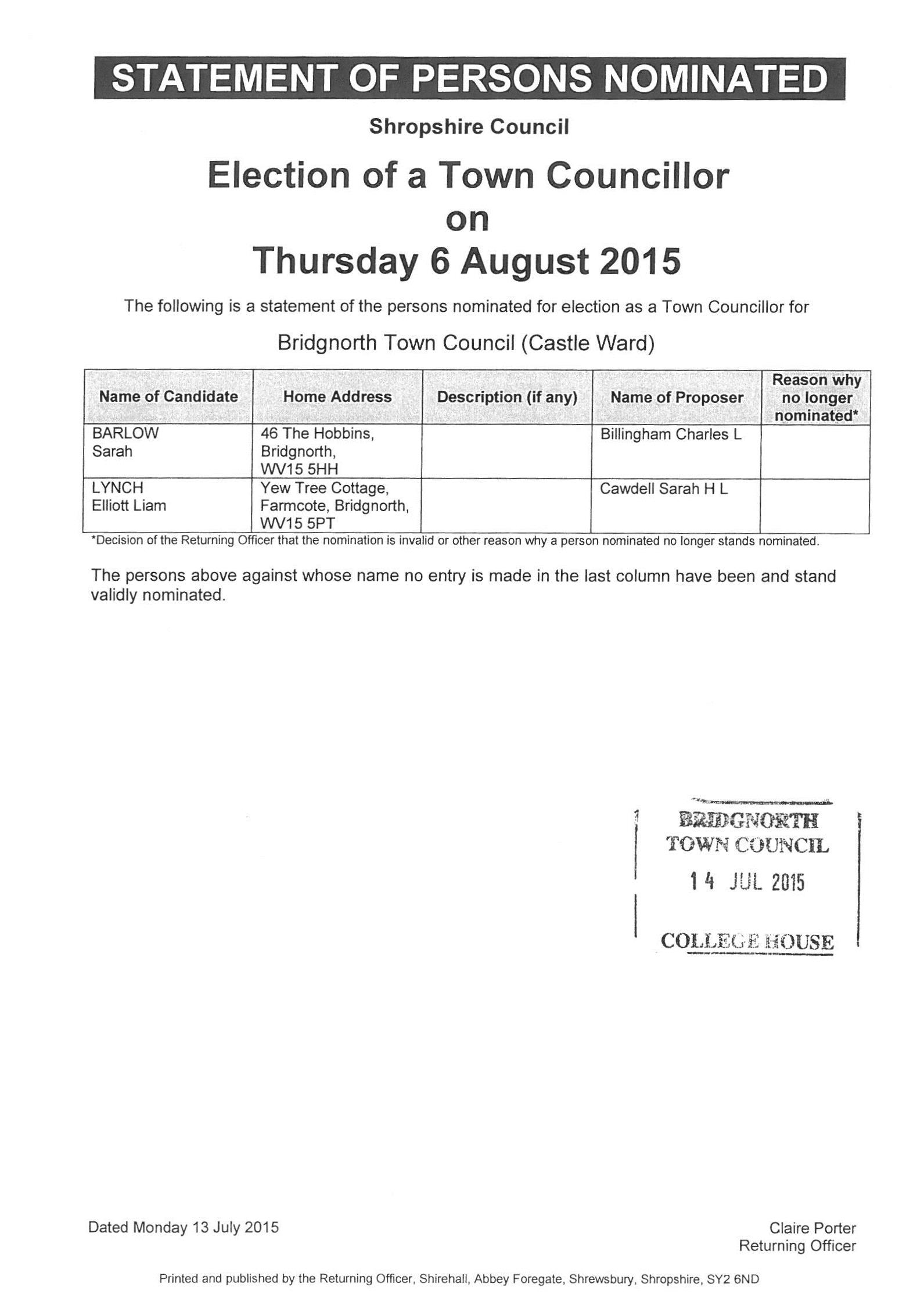 Statement of Persons Nominated - Castle Ward July 2015