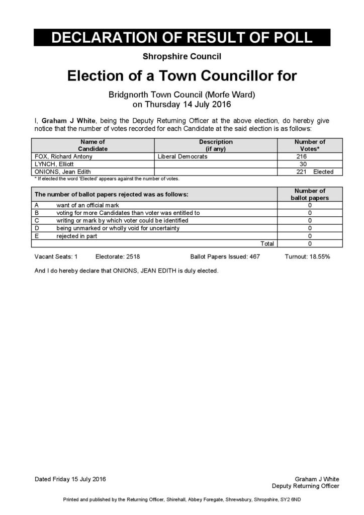 Bridgnorth TC - Declaration of results - July 2016