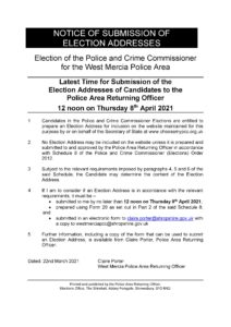 Notice Of Submission Of Election Addresses