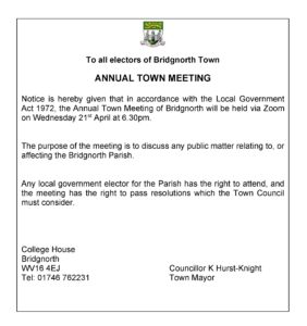 Advert for Annual Town Meeting - 21st April - 6.30pm via Zoom