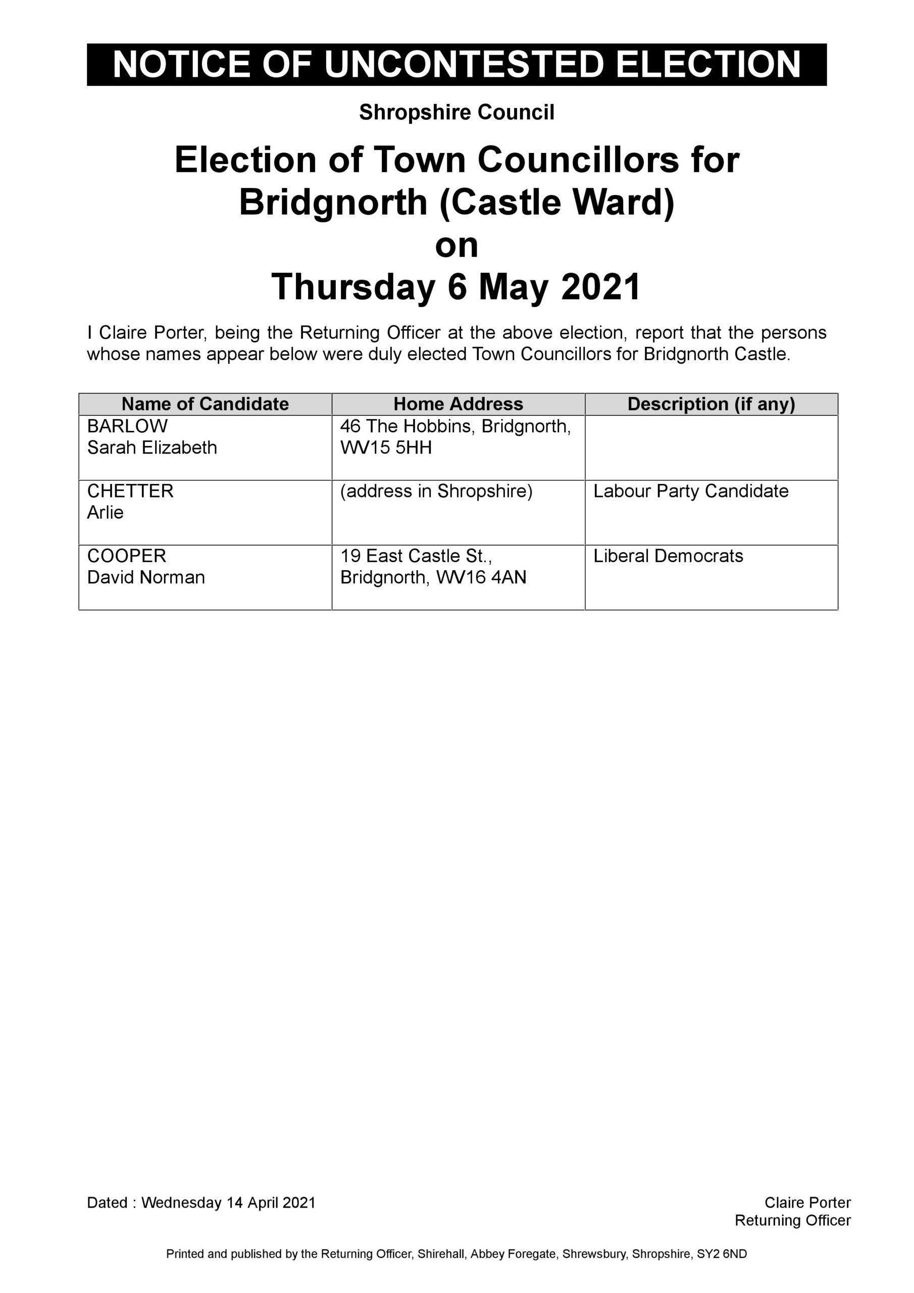 Uncontested Election Bridgnorth Castle