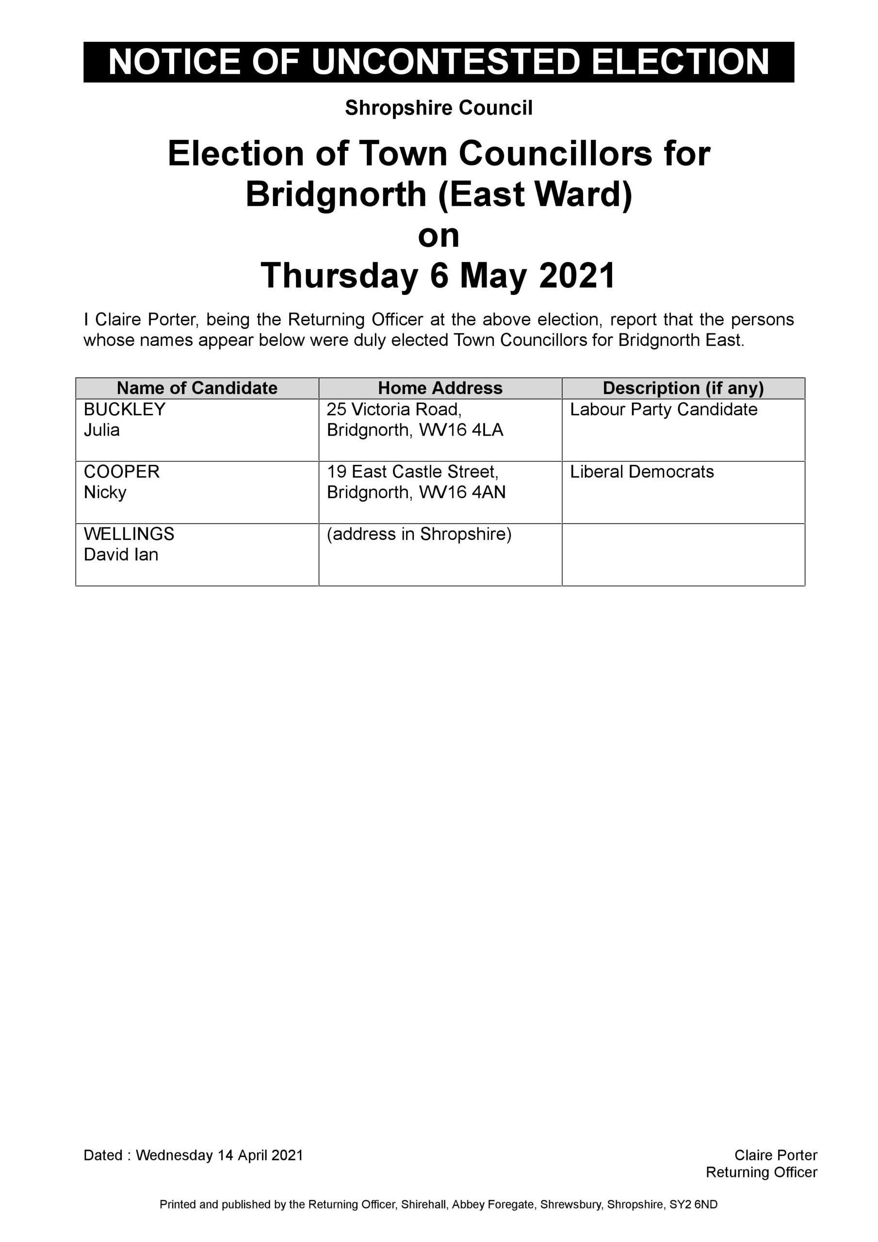 Uncontested Election Bridgnorth East
