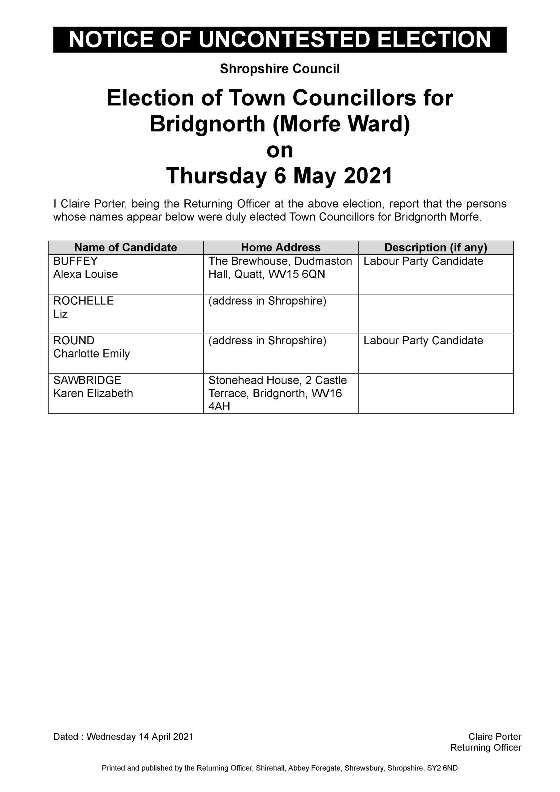 Uncontested Election Bridgnorth Morfe