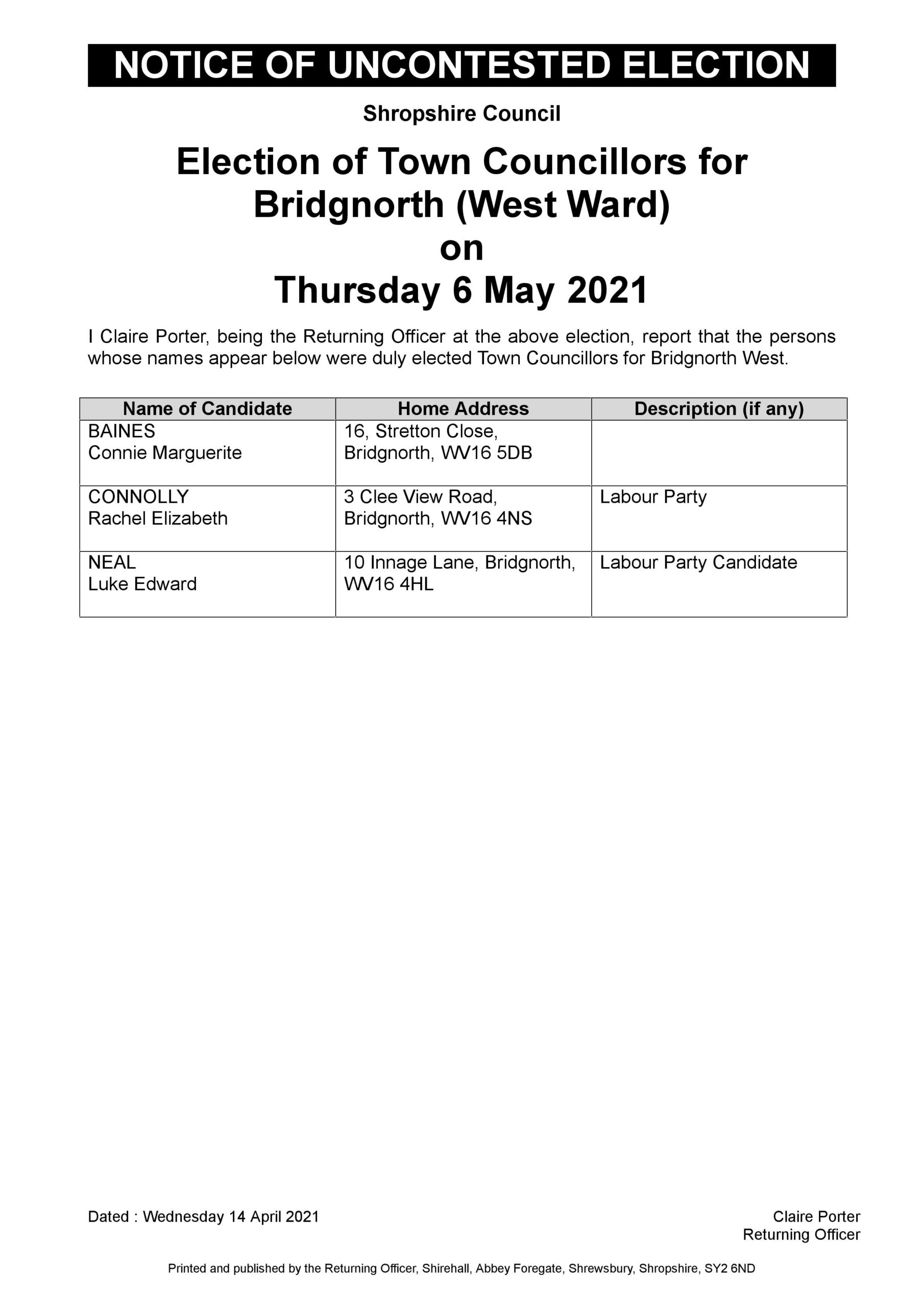 Uncontested Election Bridgnorth West